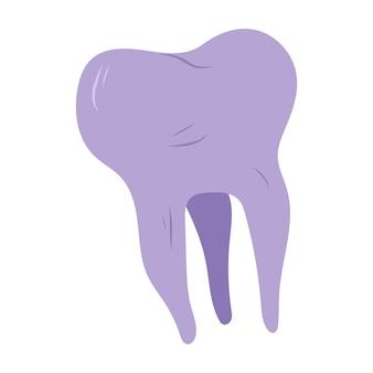 Dente humano roxo. ilustração em vetor mão desenhada.