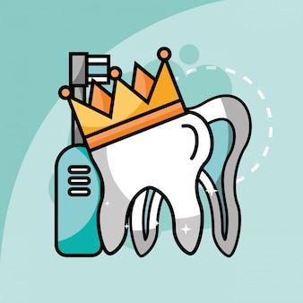 Dente na escova de dentes elétrica da coroa