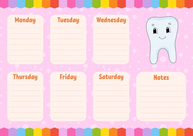 Dente saudável. cronograma escolar. calendário para estudantes.
