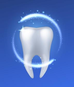 Dente saudável. dentes humanos brilhantes brancos realistas sobre fundo azul, clareamento de esmalte, higienista dentista, proteção de higiene bucal dentária, conceito de vetor isolado