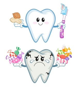 Dente saudável e insalubre