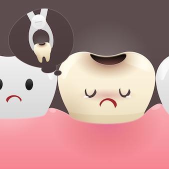 Dente sonhando em arrancar um dente