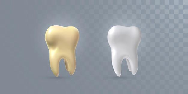 Dentes 3d realistas isolados em fundo transparente