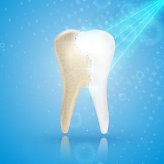 Dentes branqueamento conceito 3d