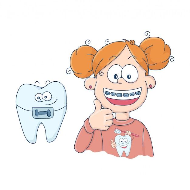 Dentes com aparelho.