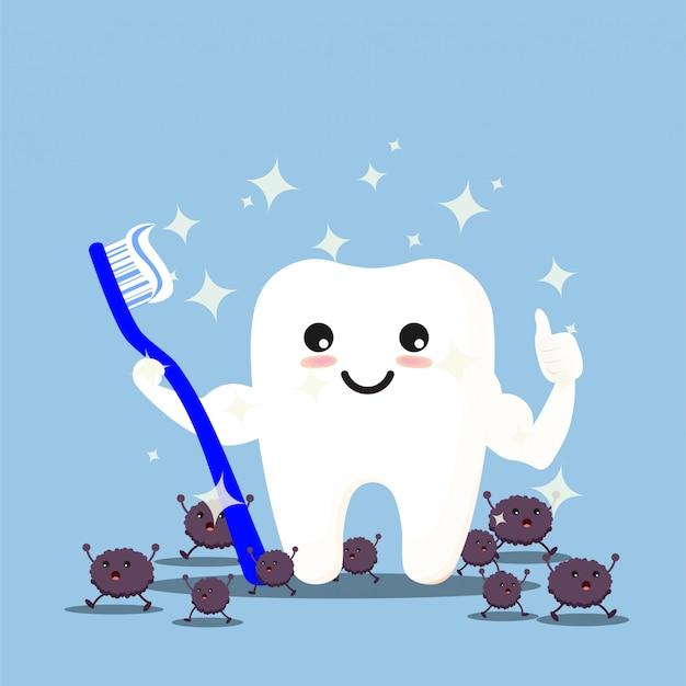 Dentes com escova de dentes se limpando