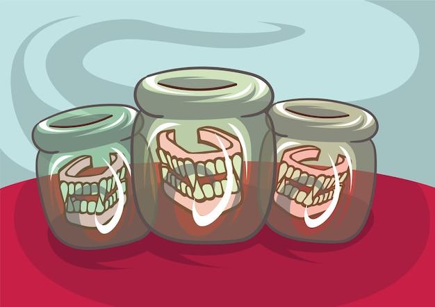 Dentes de vampiro com presas