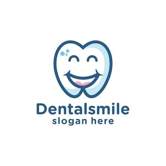 Dentes dentais dentes sorriem logo personagem de desenho animado