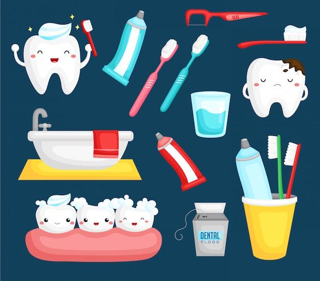 Dentes e escova de dentes