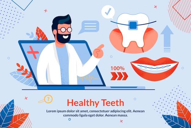 Dentes saudáveis brilhantes letras dos desenhos animados.