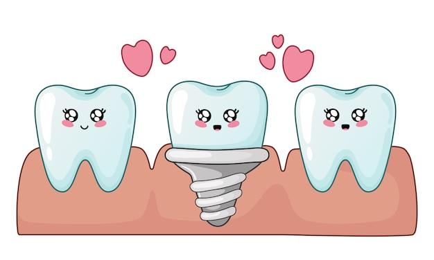 Dentes saudáveis dos desenhos animados do kawaii e implante dentário