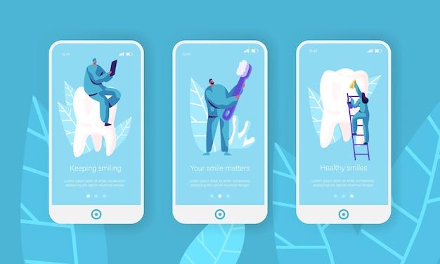 Dentes saudáveis, escova de dentes limpa mobile app página conjunto de tela a bordo. dentista faz prevenção, pasta de dente clareadora para site ou página de saúde. ilustração em vetor plana dos desenhos animados