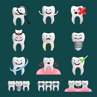 Dentes sorridentes com diferentes elementos. personagem bonita com expressão facial.