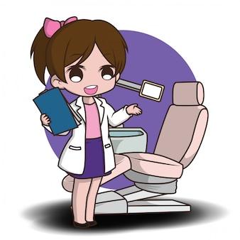 Dentista bonito dos desenhos animados segurando as ferramentas do dentista