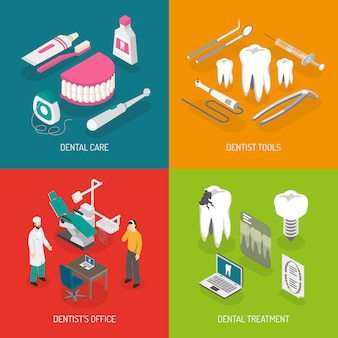 Dentista conceito flat icons square