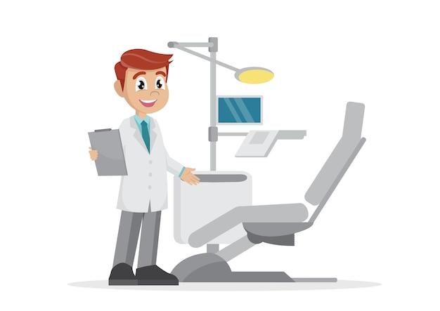 Dentista convida em seu escritório.