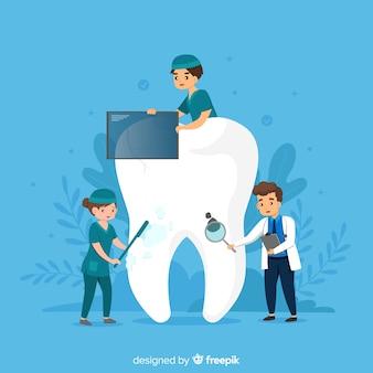 Dentista, cuidando de um fundo de dente