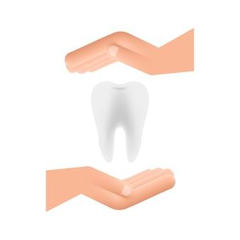Dentista de ícone de dentes. dentes saudáveis nas mãos. dentes humanos. ilustração vetorial.