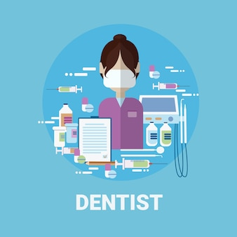 Dentista, doutor, ícone, clínica, trabalhador médico, perfil