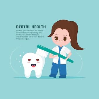 Dentista fofa com modelo de saúde do dente