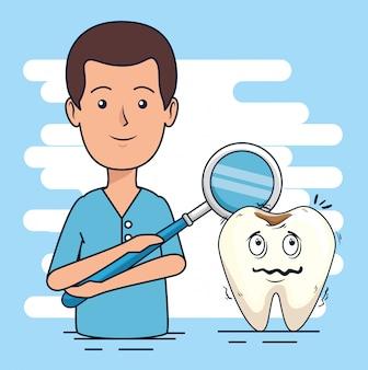Dentista homem e dente com diagnóstico de cárie