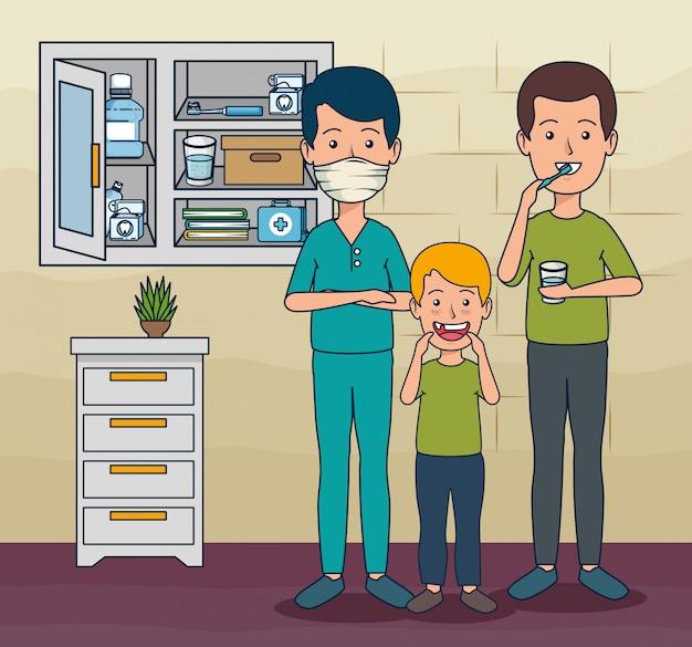 Dentista homem e paciente menino e homem para cuidar de dentes