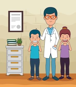 Dentista homem e pacientes crianças para cuidados com os dentes