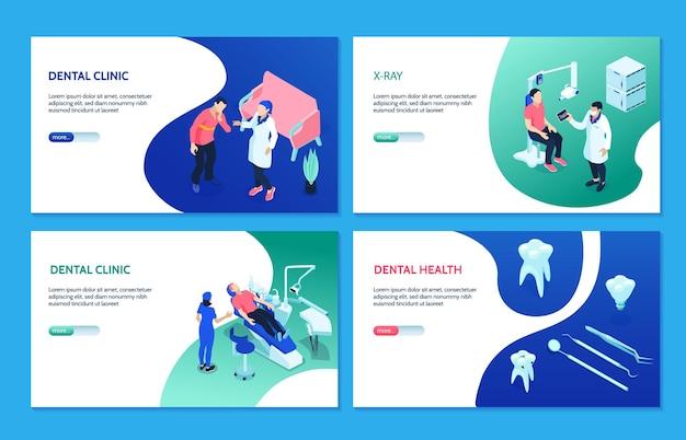 Dentista isométrico com ilustração de cartões de equipamentos e cuidados com os dentes