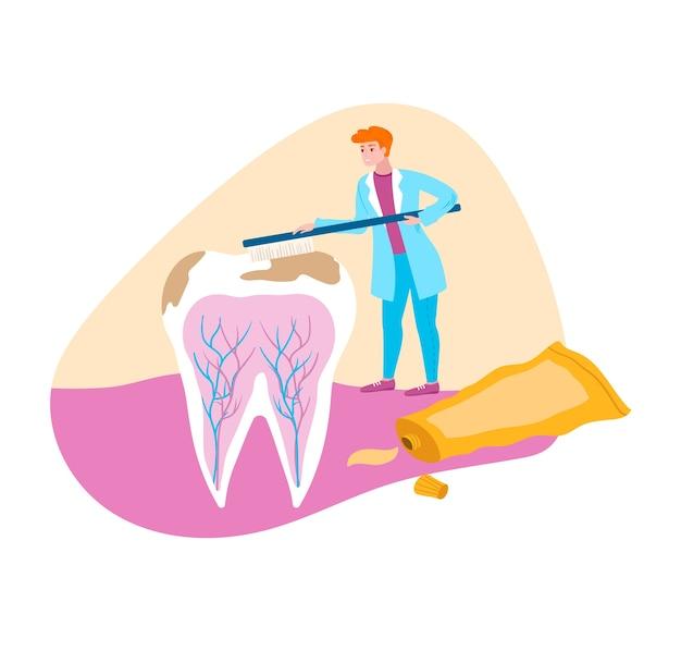Dentista limpa placa com escova de dentes