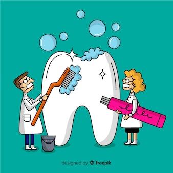 Dentista, limpeza, dente grande, caricatura, fundo