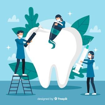 Dentista, limpeza, dente grande, fundo