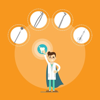 Dentista masculina com instrumentos médicos