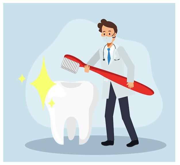 Dentista masculino segurando a escova de dentes vermelha perto do grande dente limpo branco. brilhar ao redor. conceito odontológico. personagem de desenho animado de vetor plana.