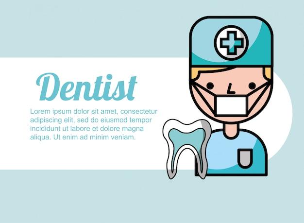 Dentista menino retrato desenhos animados dente tratamento