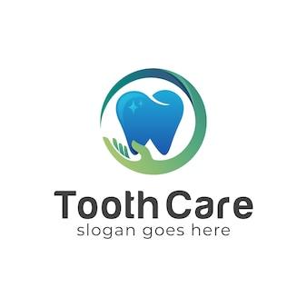 Dentista ou dente com cuidados para as mãos para design de logotipo de clínica médica