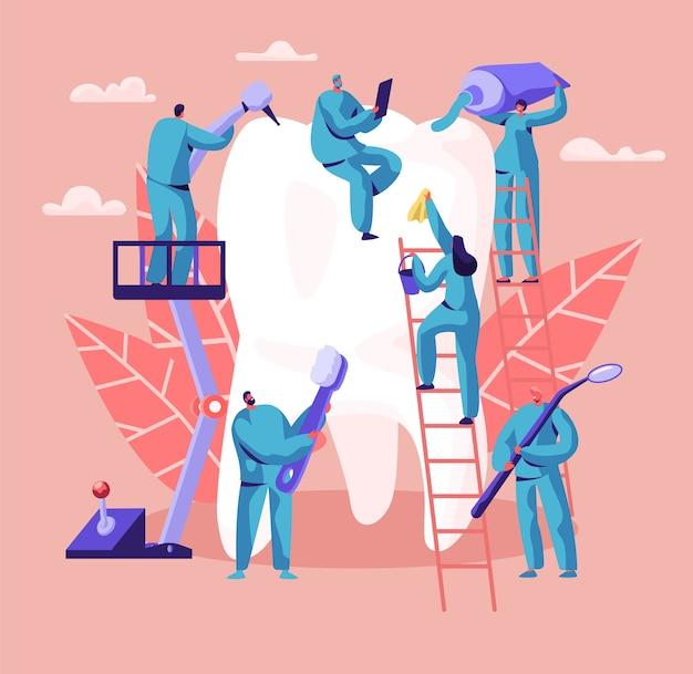 Dentista personagem cuidados de grande dente branco. histórico da clínica odontológica. as pessoas da medicina trabalham em estomatologia com escova e pasta de dentes. ilustração em vetor plana dos desenhos animados do conceito abstrato de cirurgia oral