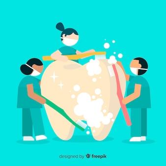 Dentista plana, cuidando de um fundo de dente