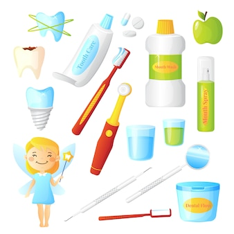 Dentista plana para higiene dental e dentes saudáveis com fada e equipamentos