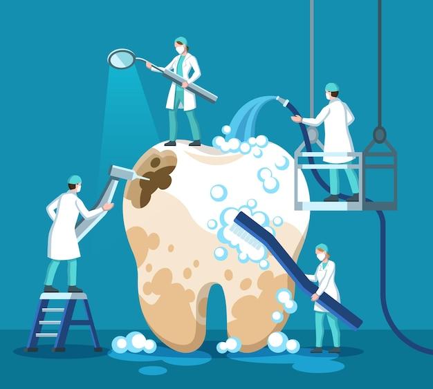 Dentista tratando dente. pequeno estomatologista, médico, limpa um dente grande e insalubre com pasta de dente, escova de dentes e ferramentas médicas, cárie de perfuração, procedimento de remoção de placa bacteriana conceito de vetor odontologia