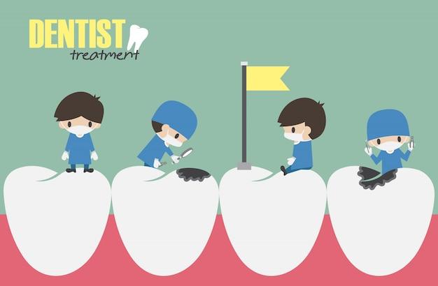 Dentistas checam seus dentes e procuram cárie dentária