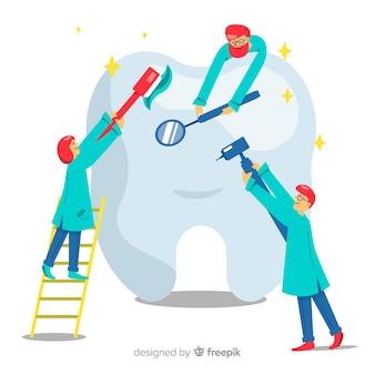 Dentistas, cuidando de um fundo de dente