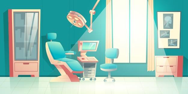 Dentistas escritório cartoon vector vazio interior com cadeira confortável