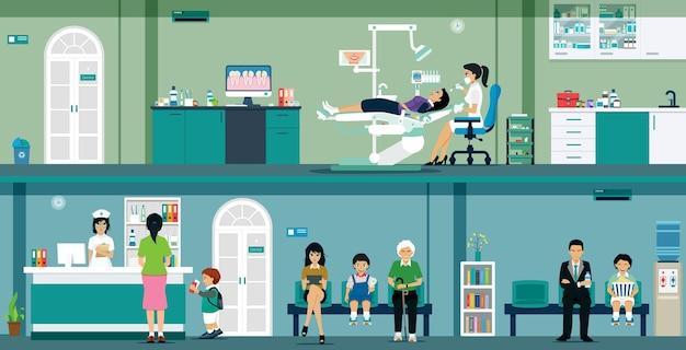 Dentistas fornecem cuidados bucais para mulheres em clínicas odontológicas