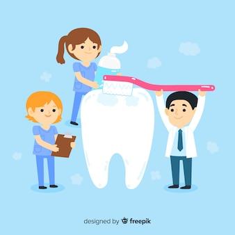 Dentistas planos, cuidando de um conceito de dente