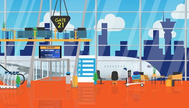 Dentro, aeroporto, terminal, esperando, corredor