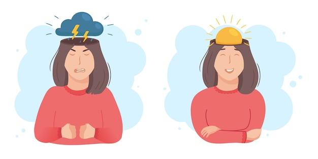 Dentro do conceito de cabeça de mulher. bom e mau humor. sol ou nuvens no lugar do cérebro. menina feliz ou com raiva