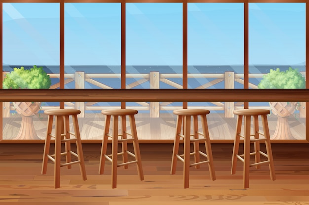 Dentro do restaurante com banquinhos e bar