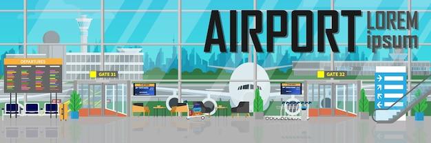 Dentro do terminal de aeroporto de partida de construção com avião fora