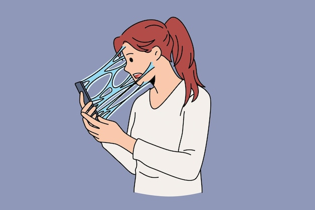 Dependência de conceito de internet e telefone. mulher estressada jovem personagem de desenho animado em pé, sentindo-se conectada a uma tela de telefone com ilustração vetorial de líquido