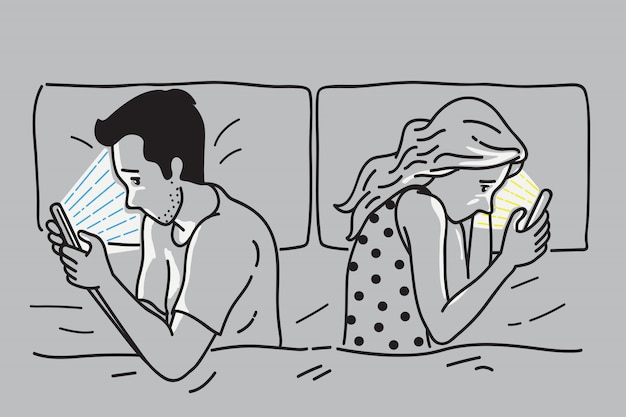 Dependência de smartphone na cama